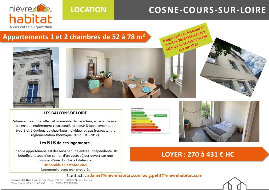 place de la Résistance, COSNE-SUR-LOIRE, 58200, ,Appartement,location,LES BALCONS DE LOIRE,place de la Résistance,2119